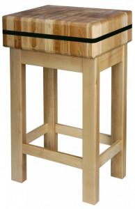 Kloc masarski drewniany na podstawie drewnianej 40x40x20 cm (h)