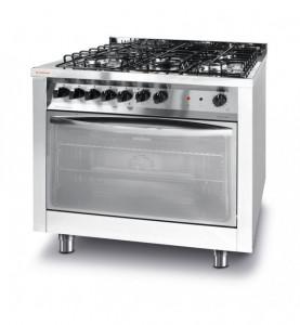 Kuchnia gazowa 5-palnikowa z konwekcyjnym piekarnikiem elektrycznym z grillem Revolution