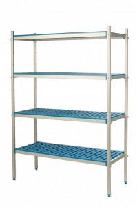 Regał aluminiowo-polipropynelowy, 4 półkowy, 870x500x1750 mm | ALUSHELF