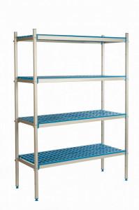 Regał aluminiowo-polipropynelowy, 4 półkowy, 1070x500x1750 mm | ALUSHELF
