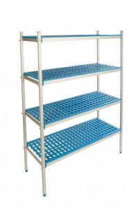 Regał aluminiowo-polipropynelowy, 4 półkowy, 870x400x1750 mm | ALUSHELF