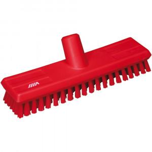 Szczotka twarda do mycia podłogi 270x65x100 mm, włos 25 mm czerwona