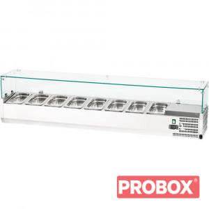 Witryna chłodnicza nastawna 8xGN 1/4 1800x335x435 mm z szybą