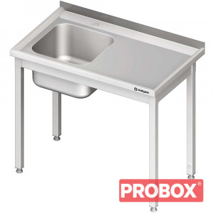 Stół ze zlewem 1-kom.(l),bez półki 1200x700x850 mm spawany